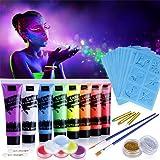 Lictin 8 x Peinture Corporelle-Kit de Peinture fluorescente UV Non Toxique Neon Avec 6*5,5g de face painting palette, 2*poudr