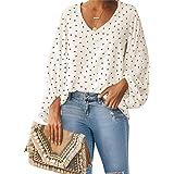Style Dome Camisas para Mujer Verano Camiseta Manga Larga Blusa de Gasa con Escote en V Estampado Lunares Moda Tops Mujer Fie