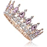 Frcolor Corona nuziale, Tiara regina di cristallo vintage con strass per fidanzamento nuziale (rosa)