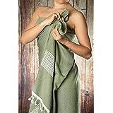 Happy Towels Hamamtücher | Olivgrün und Weiß | 210 cm x 95 cm | 60% Bambus und 40% Bio-Baumwolle | Fairtrade
