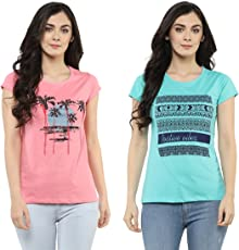 Modeve Printed T-Shirts for Women, Pack of 2 (Light Pink & Turquoise)