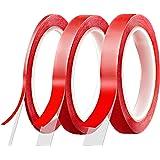 FEIGO [10 M] Ruban Adhésif Double Face, Lot de 3 Rouleaux Ruban Autocollant Haute Performance 3/7/10 mm Largeur (Rouge)