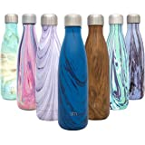 Simple Modern Wave Waterfles - Roestvrijstalen fles - Smalle mond Vacuümisolatie Metaal Herbruikbaar Klein kinderkoffielekvri