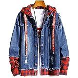 Men Denim Stitching Long Sleeve Jacket Streetwear Hip Hop Men's Hooded Jean Jackets Male Casual Loose Outerwear 2020 New Spri