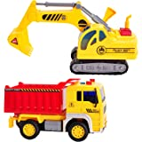 HERSITY Camiones de Juguetes Vehículos de Construcción Excavadora Coches Volquete con Luces y Sonidos Regalos para Niños 3 4