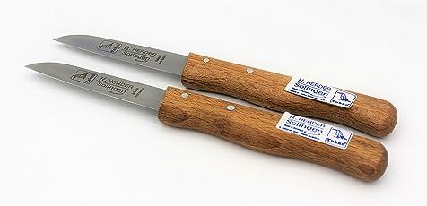 """Solingen Messer von H.Herder /// 2 Schälmesser mit Gerader Klinge 3"""" /// Tourniermesser Schälmessser Küchenmesser /// Nicht Rostfreier Gußstahl /// Holzgriff aus Buche"""
