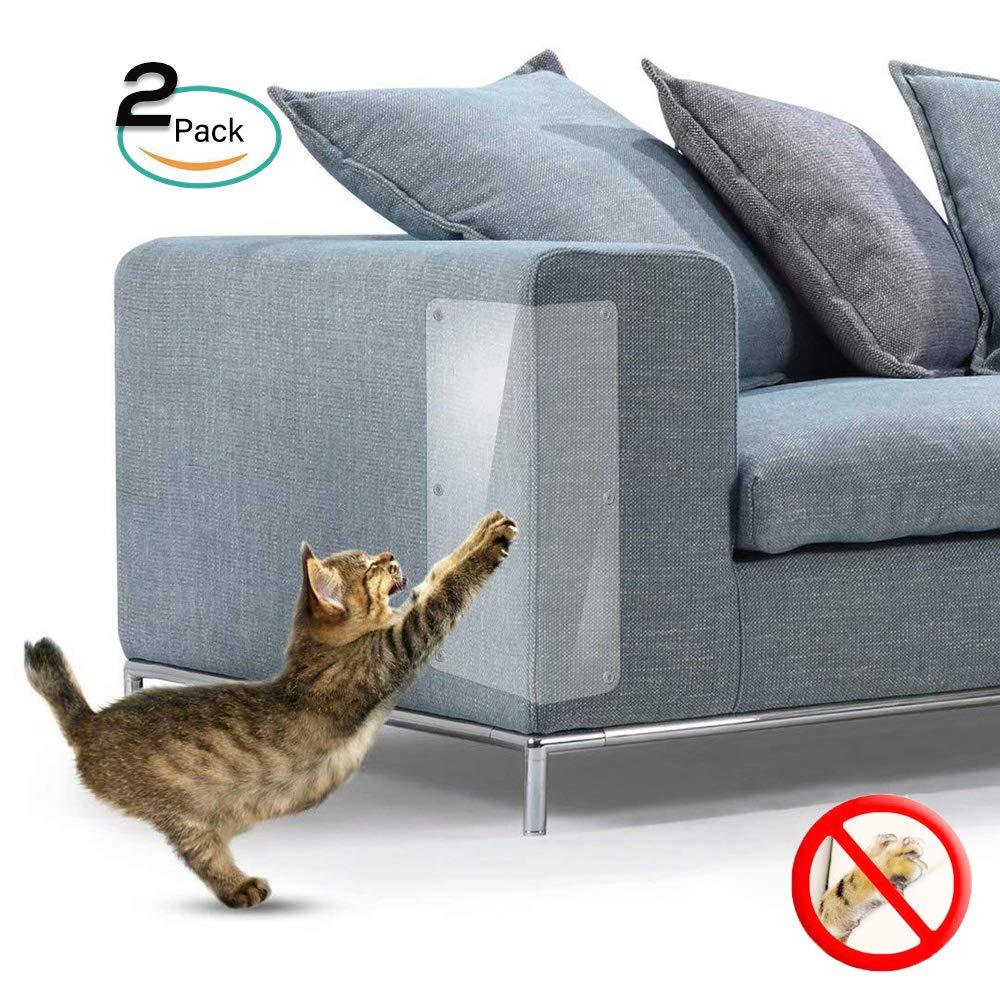 Galaxer 2 Piezas de Protección Anti-Arañazos Transparente Gato Flexible Resistente a los Arañazos para Gatos con Alfileres Que Protegen los Muebles para Que no se Rayen (Las uñas, 2 Pack)
