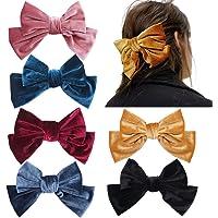 6 pezzi 8,3 pollici grande velluto clip di fiocchi per le donne eleganti clip di capelli fatti a mano bowknot mollette…