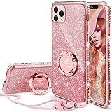 OCYCLONE Cover iPhone 11 Pro Max, Glitter Brillante Custodia Kickstand Rotante e Cordino, Bling Silicone Diamante Lucciante p