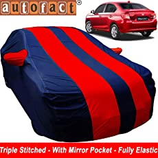 Autofact Car Body Cover for Honda Amaze Facelift 2018 Onwards Model (Mirror Pocket, Premium Fabric, Triple Stitched, Fully Elastic, Red/Blue Color)