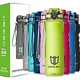 Degbit Trinkflasche, [BPA Frei Tritan] 1L/650/500/350ML Auslaufsicher Kunststoff Wasserflaschen Sport, Flip Top Öffnet mit 1-klick, Sportflasche Fahrrad Flasche für Kinder