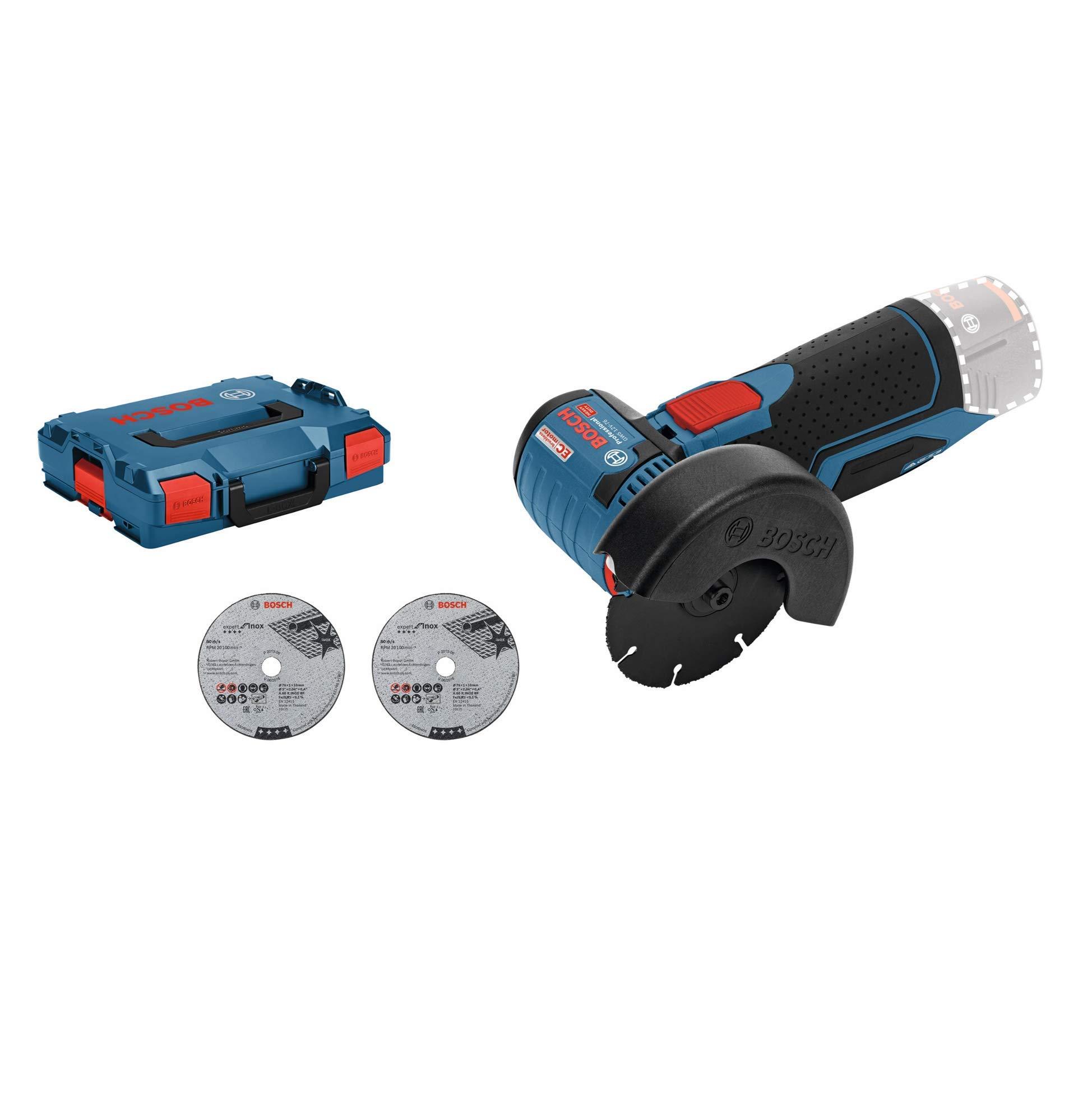 Bosch Professional GWS 12V-76 Akku Winkelschleifer (3 Trennscheiben, 76 mm, 12 Volt)