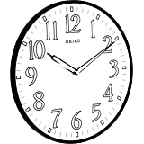 "Seiko 12"" Black Framed Luminous Numbered Wall Clock"