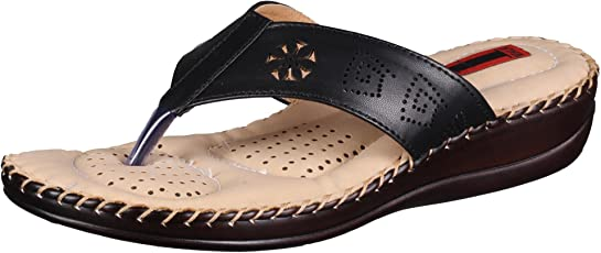 1 WALK Comfortable DR Sole Women-Flats/Sandals/Fancy WEAR/Party WEAR/Original/Slippers/Casual Footwear-Black @@MP-DR100B-Black
