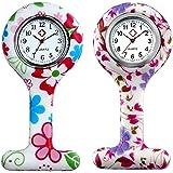 Set di 2 orologi da infermiera, estensibili, bianco, per infermiera, analogico, digitale, in silicone, per donne e donne