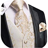Dubulle Mens Vest and Tie Set Waistocat Necktie with Pocket Square Cufflinks