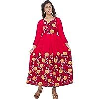DUMMY SHAPE Women's Rayon Long A-Line Maternity Kurti/Anarkali Dress with Zipper, Feeding Kurti for Pre and Post…