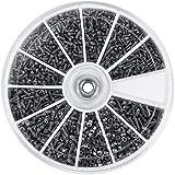 600Pz 12 Tipi di Piccole Viti Bulloni Assortimento in Acciaio Inox per Orologi Bicchieri M1 M1,2 M1,4 M1,6, Filettatura Piena