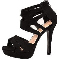 Elara Damen Pumps Offen Stilettos High Heels Chunkyrayan