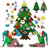 Foho 3D Fieltro Árbol de Navidad, 3.3ft 25 Piezas Arbol de Navidad Fieltro Decoración, Colgante de Pared Niños Adornos Extraí