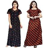 YUKATA aka Title1 Women's Cotton Printed Nighty (YT_1, Multicolour, Free Size) -2 Pieces Combo