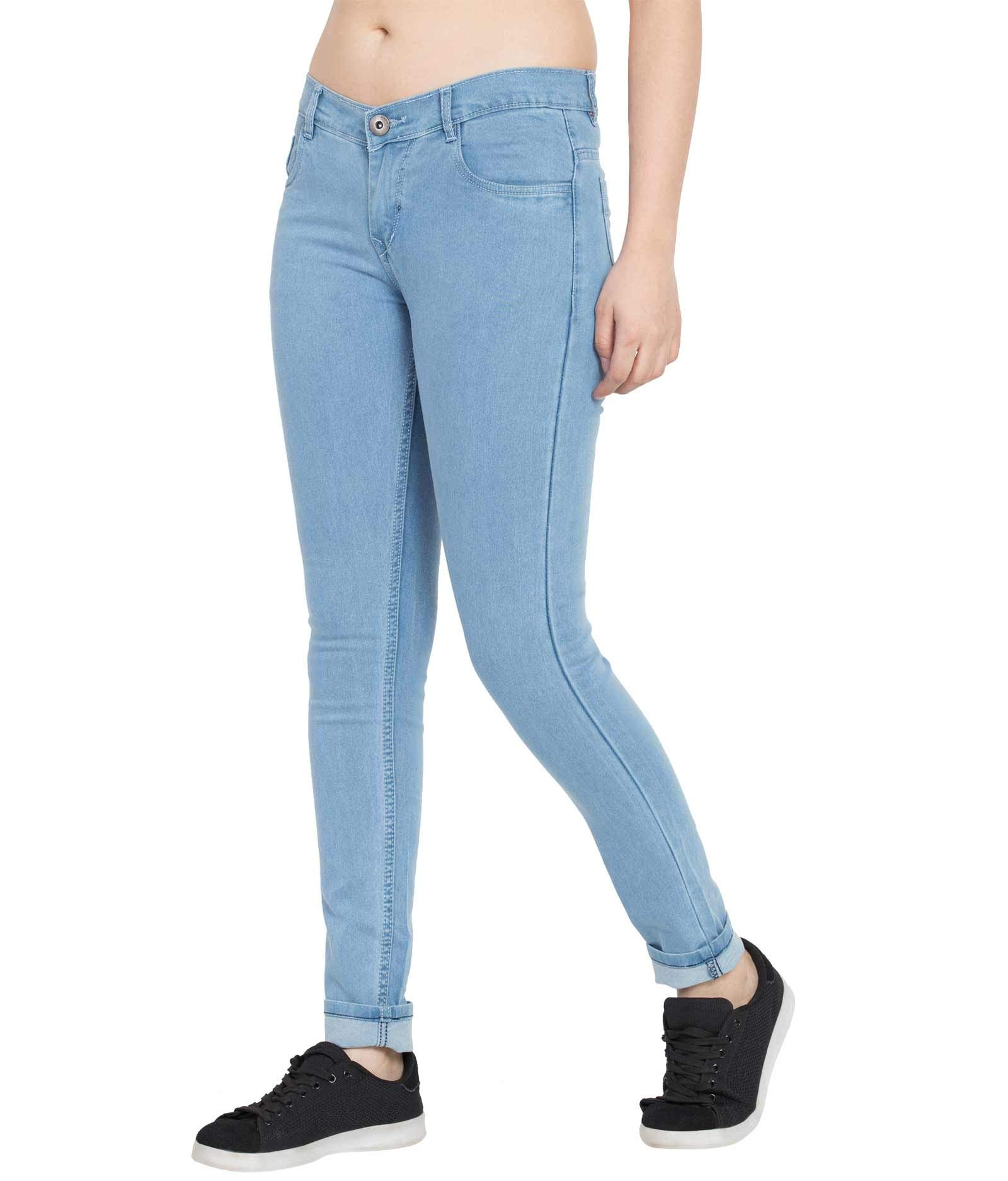676f7cec8f American-Elm Women s Basic Slim Fit Stretchable Light Blue Jeans ...