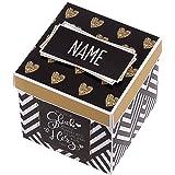 Herz & Heim® Überraschungsbox für Verliebte mit Namensaufdruck - Handgefertigt in Deutschland - was für EIN Glück