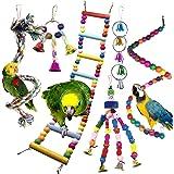 PietyPet Jouets pour Oiseaux, Coloré Oiseaux Jouets avec Cloches, Pont Échelles, Balançoire Jouet Oiseau Perché, Escalade Jou