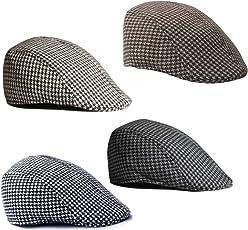Phenovo Men Women Fashionable Cotton Peak Flat Beret Style Golf Hat Cap Coffee+White