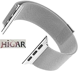 HIGAR Stainless Steel Milanese Loop Replacement Strap with Magnetic Lock for Apple Watch 38mm - Silver [*Watch NOT Included*]