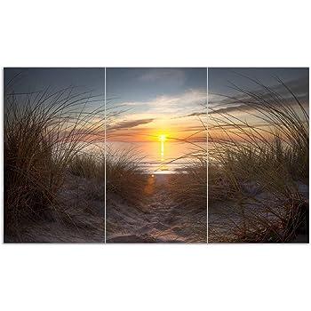 Elefant Sonnenaufgang Wallario Herdabdeckplatte 3-teilig aus Glas 90x52cm