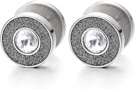 Acier 8-10MM Cercle Boucles doreilles avec Zircon Cubique Homme Femme Bouchon Jauge doreille Cheater Fake Gauge Plugs