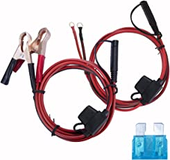 Magiin Batterieklemme und Ösen Terminal zur 1.5m SAE Anschluss Kabel mit 15A Sicherung Batterieladekabel für Auto Batterieladung 2er/Set 1.5m x 2