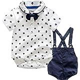 LEHOUR Bebés 2Pcs Trajes de Bautizo Camisa Bowtie Top + Tirantes Shorts Correa, Niños Formales Fiesta Outfit Gentleman Clothi