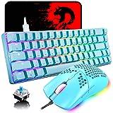 60% Gaming Esports Tastiera Meccanica Interruttori Blue mini 68 tasti cablato Illuminazione multicolore RGB + Mouse RGB legge