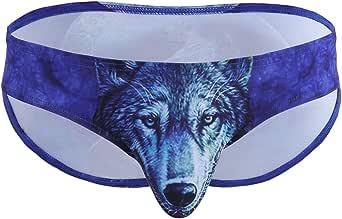 Freebily Wolf Men's Undies Swimming Briefs Trunks Shorts Swimwear Beachwear