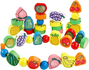 Trinkets & More - 56 Piece Fruit Bead Game Wooden Lacing Toy | Stringing Beading Game | Early Educational Toys Kids 3+ Years