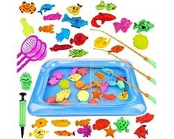 GOLDGE 42PCS Juguete de Pesca para Niño, Juguete de la Flotando Pesca Conjunto para Niños, Juguete Pesca de Diversion y Depor