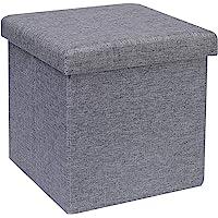 Bonlife Tabouret Pliant en Lin Pouf de Rangement Repose-Pied Cube Siège Petit Meuble de Rangement Pouf Carre Gris,30 X…
