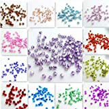HOME REPUBLIC- Multi Colour BICONE 100pcs 4mm Bicone Crystal Beads Charm Glass Beads Loose Spacer Bead for DIY Jewelry Making