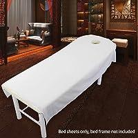 SUPEWOLD Housse de table de massage, drap de lit de massage, pour table de soins de SPA, de beauté, de cosmétique, avec trou pour le visage, drap-housse en tissu éponge