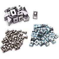 Global Automate Global Cast Corner Bracket for 2020 MM Series Aluminium Extrusion Profile with Nut and Bolt (10 Pieces)