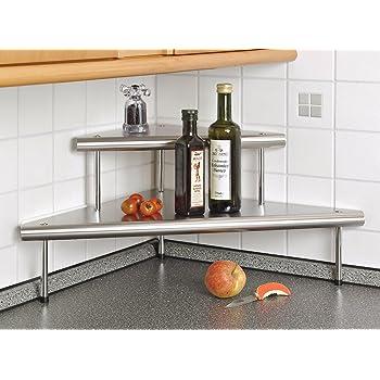 Mensola angolare in acciaio legato scaffale ripiano in acciaio inox casa e cucina - Scaffale per cucina ...