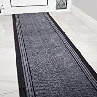 The Rug House Grey Rubber Backed Very Long Hallway Hall Runner Narrow Rugs Custom Length - Sold and Priced Per Foot 2ft