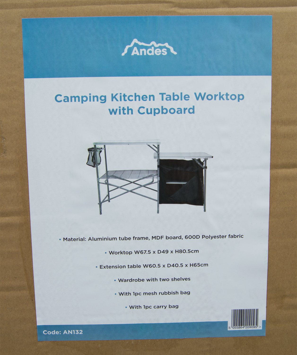 Andes Camping Field Kitchen Worktop Table Stand With Cupboard 4