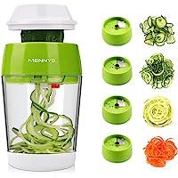 MENNYO Coupe Légumes Spirale avec Boîte, 4 en 1 Spiraliseur de Légumes Spiralizer Legume Spaghetti Mandoline Cuisine…