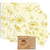Bugucat Emballage Cire d'abeille,Bio 8 Pcs Paquet Bee Wraps,Zéro Déchet Beeswax Wraps,Emballages Alimentaires Réutilisables é