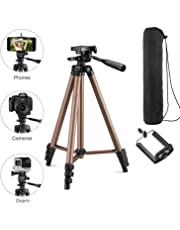 Teconica 3110A Portable and Foldable Tripod with Mobile Clip Holder Bracket & Three-Dimensional Head for Making Tiktok Videos Compatible with All Smartphones and DSLR Cameras - Assorted Colour