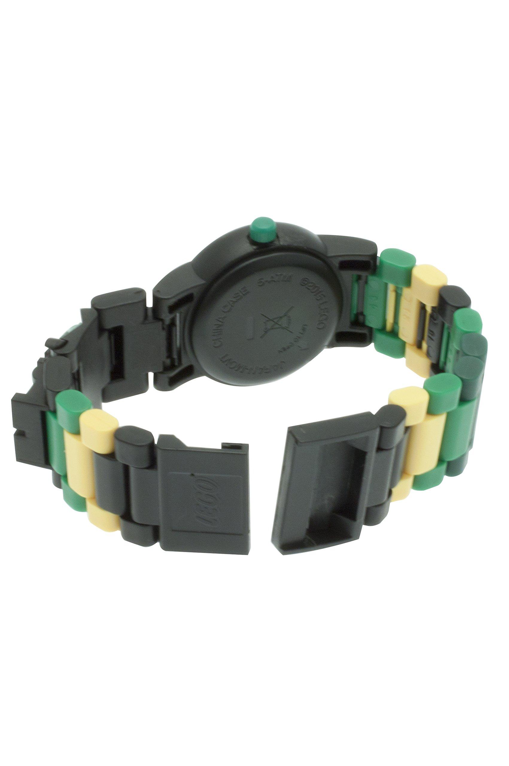 LEGO Ninjago 8020554 Sky Pirates Lloyd Kinder-Armbanduhr mit Minifigur und Gliederarmband zum Zusammenbauen  grün/schwarz  Kunststoff  analoge Quarzuhr  Junge/Mädchen  offiziell