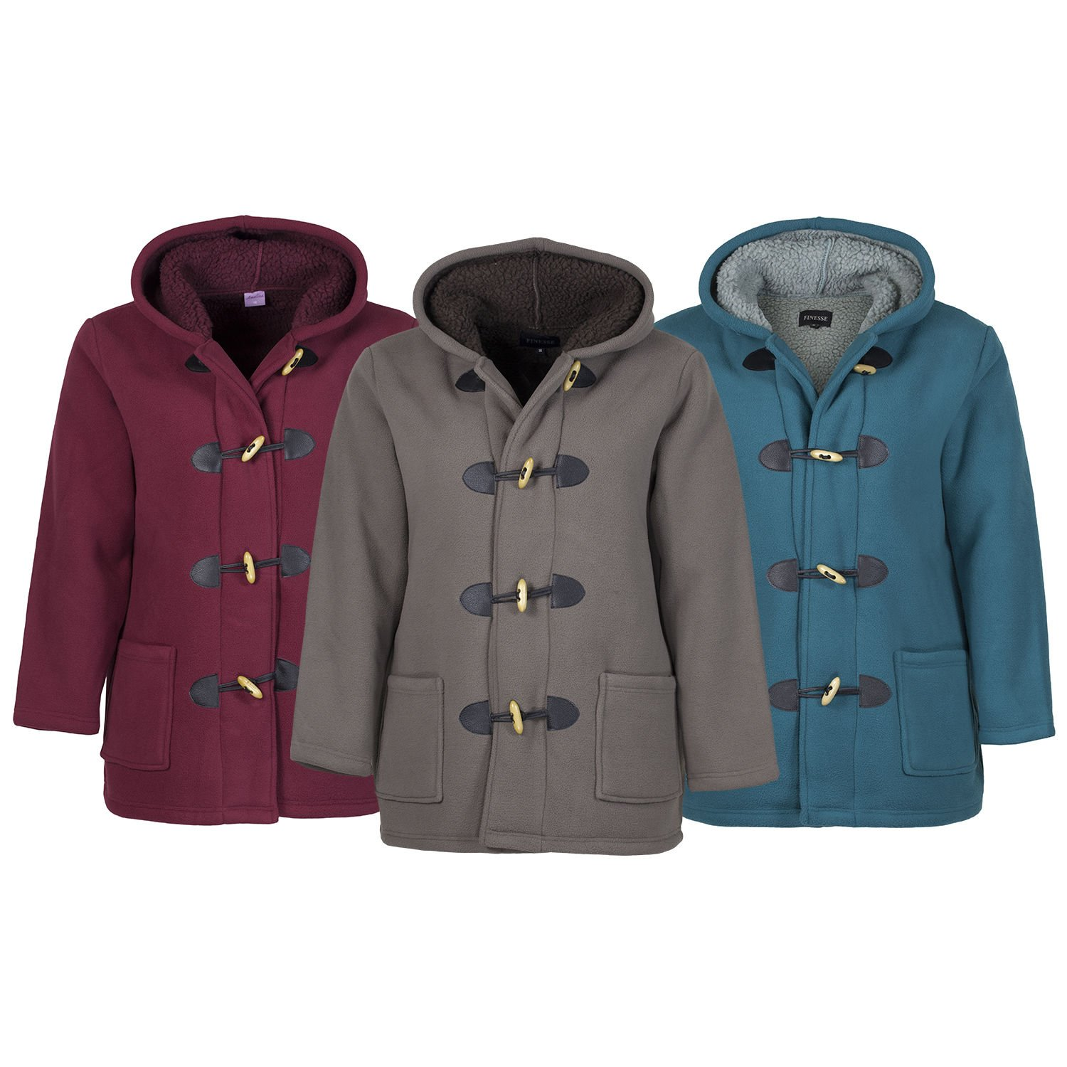 Finesse Ladies Womens Winter Sherpa Fleece Duffle Coat Jacket Plus ...